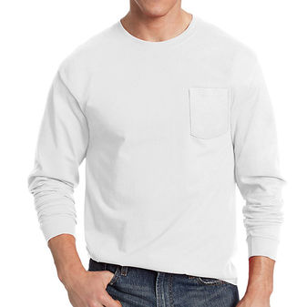 Hanes Mens TAGLESS Long-Sleeve T-Shirt with Pocket 5596