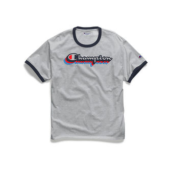 Champion Men\'s Classic Jersey Ringer Tee, Multi-Color Shadow Logo