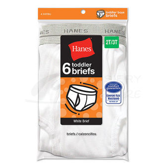 Hanes Toddler Boys Briefs White 6-Pk 249TBU