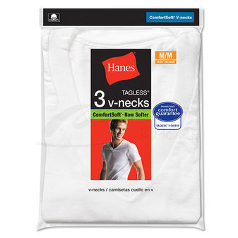 Hanes Mens ComfortSoft V-Neck Undershirt 3-Pk 777