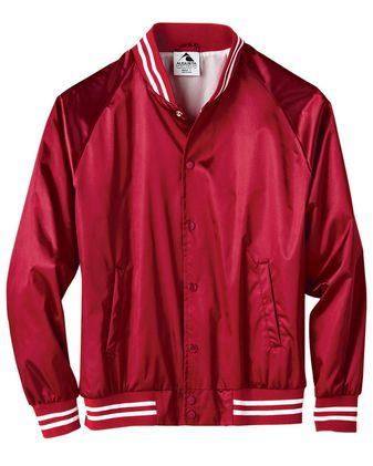 Augusta Sportswear Satin Baseball Jacket Striped Trim 3610