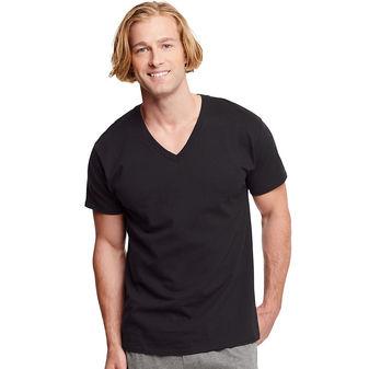 Hanes Classics Men\'s Traditional Fit ComfortSoft® TAGLESS® Dyed Black V-Neck Undershirt 3-Pack 7883B3