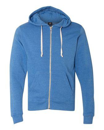 J. America Triblend Full-Zip Hooded Sweatshirt 8872