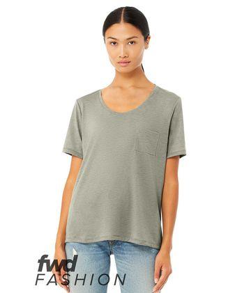 BELLA + CANVAS Fashion Women\'s Flowy Pocket Tee 8818