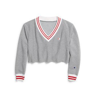 Champion Life Reverse Weave Women\'s Yarn Dye Stripe Cropped V-Neck Sweatshirt WL952 549302