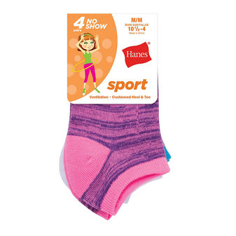 Hanes Girls\' Sport No Show Socks 4-Pack HGATN4