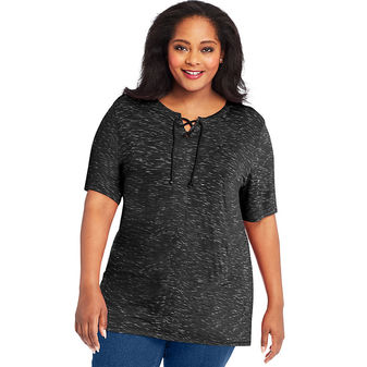 Just My Size Lace Up Tunic OJ381