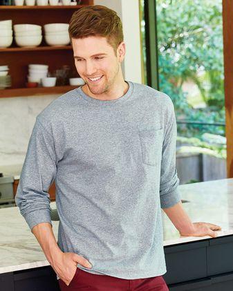 Hanes Tagless Long Sleeve T-Shirt with a Pocket 5596