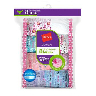 Hanes Ultimate® Girls\' Cotton Bikinis 8-Pack GUBKP8