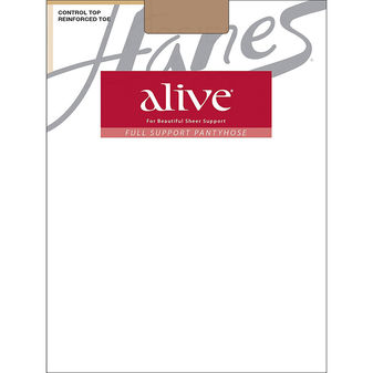 Hanes Alive Full Support Control Top Reinforced Toe Pantyhose 810