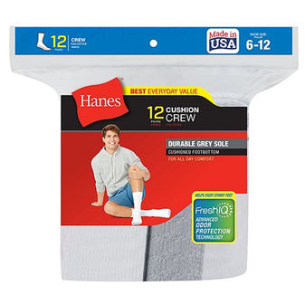 Hanes Men\'s Crew Socks 12-Pack 184V12