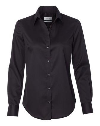 Calvin Klein Women\'s Non-Iron Micro Pincord Long Sleeve Shirt 13CK034