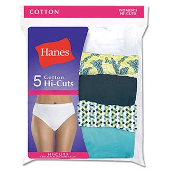 Hanes Womens Plus Size Cotton Hi-Cut Panties 5-Pk P543WB