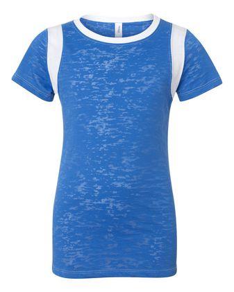 Blue 84 Juniors\' Burnout Crewneck Football T-Shirt JBIT