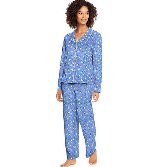 Hanes Women\'s Knit Notched Collar Top and Pants Sleep Set HAC80116