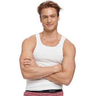 Hanes Men\'s TAGLESS® ComfortSoft® White A-Shirt 5-Pack (2X-3X) 372P5