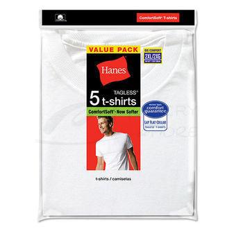 Hanes Mens White TAGLESS Crewneck Undershirt 5-Pk 2135P5B