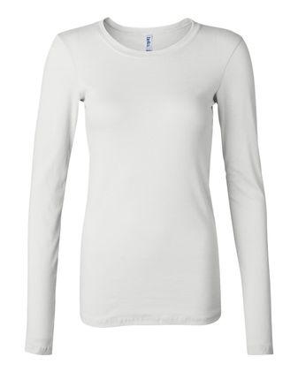 BELLA + CANVAS Women\'s Long Sleeve Sheer Mini Rib Tee 8751