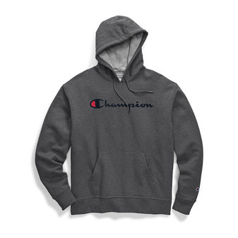 Champion Men\'s Powerblend Pullover Hoodie, Script Logo GF89H Y06794