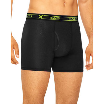 Hanes Ultimate™ Men\'s FreshIQ™ X-Temp™ Air Boxer Briefs Assorted Black/Grey 3-Pack UABBA3