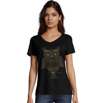 Hanes Women\'s Whoot Whoo Short Sleeve V-Neck Tee GT9337 Y06919