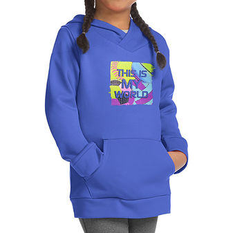 Hanes Sport Girls\' Graphic Tech Fleece Pullover Hoodie OK381