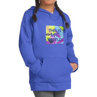 Hanes Sport Girls\' Graphic Tech Fleece Pullover Hoodie OK381