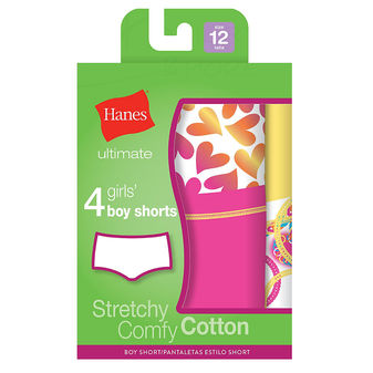 Hanes TAGLESS Cotton Stretch Girls\' Boy Shorts 4-Pack GUCSP4