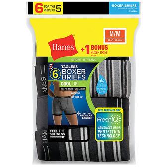 Hanes Men\'s FreshIQ ComfortSoft Boxer Briefs 6-Pack 7347Z6