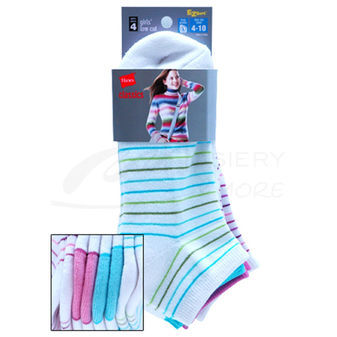 Hanes Classics Girls Low-Cut EZ Sort Socks 4-Pk 777/4