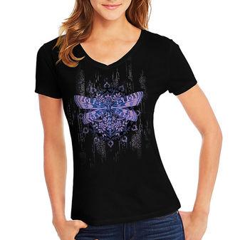 Hanes Women\'s Dragonfly Mandala Short-Sleeve V-Neck Graphic Tee GT9337 Y07650