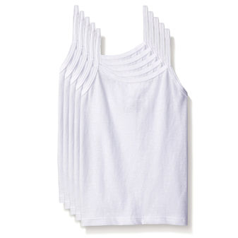 Hanes TAGLESS Cotton Stretch Toddler Girls\' Cami White 5 Pack TV30P5
