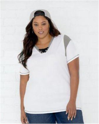 LAT Women\'s Curvy Lace Up Fine Jersey Tee 3833