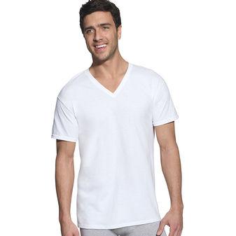 Hanes Classic Mens White V-Neck T-Shirt P6 7880W6