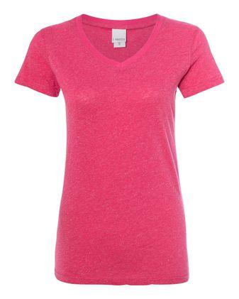 J. America Women\'s Glitter V-Neck Short Sleeve T-Shirt 8136