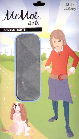 Memoi Sheer Argyle Dressy Girls Tights MK-308