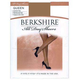 Berkshire Women\'s Plus-Size Queen All Day Sheer Control Top Pantyhose with Toe 4414