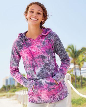 MV Sport Women\'s Courtney Burnout V-Notch Hooded Sweatshirt W1162