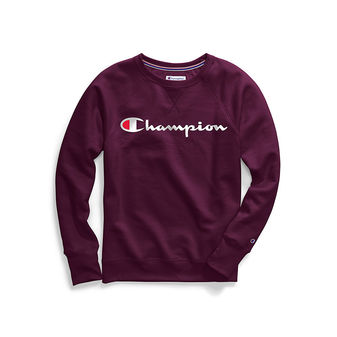 Champion Women\'s Powerblend Fleece Boyfriend Crew, Script Logo