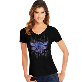 Hanes Women\'s Dragonfly Mandala Short-Sleeve V-Neck Graphic Tee GT9337 Y07650