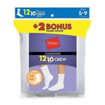 Hanes Womens Cushion Crew Socks White 12-Pack 683/12