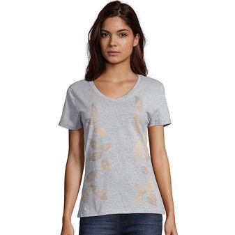 Hanes Women\'s Metallic Foliage Toss Short-Sleeve V-Neck Graphic Tee GT9337 Y07646