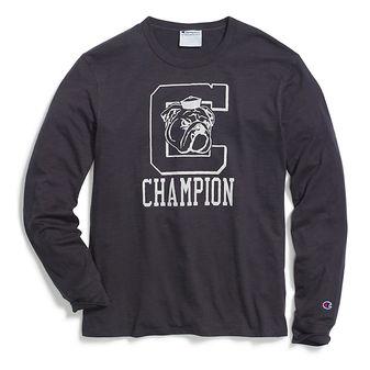 Champion Men\'s Heritage Long-Sleeve Slub Tee, C Logo with Bulldog T4333 549318