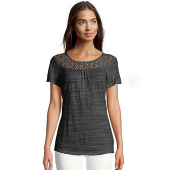 Hanes Women\'s Peasant Top with Lace Trim O9350