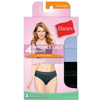 Hanes Women\'s Ultra Light Lace Bikini 4-Pack LW42AS