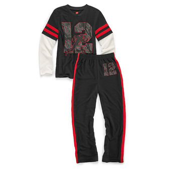 Hanes Boys Sleepwear 2-Piece Pajama Set, Varsity Print 6019B