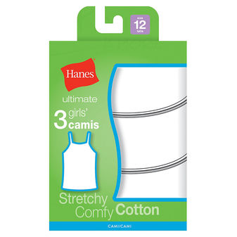 Hanes TAGLESS Cotton Stretch Girls\' Cami White 3-Pack GURBCM