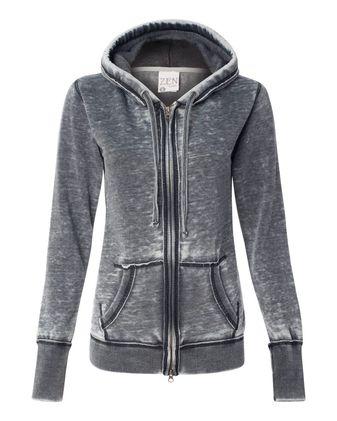 J. America Women\'s Zen Fleece Full-Zip Hooded Sweatshirt 8913
