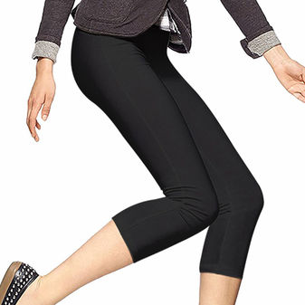 HUE Women\'s Plus-Size Cotton Capri Leggings U12948P