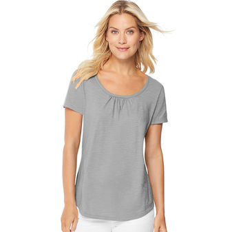 Hanes Women\'s Short-Sleeve Shirred Scoop-Neck Tee Shirt 9336